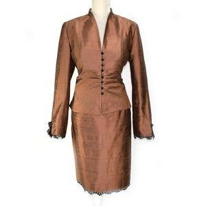KAY UNGER Raw Silk Lace Trim Evening Dress Suit 16